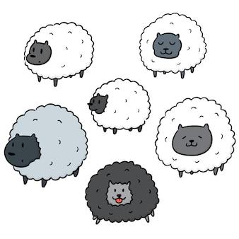 Wektor zestaw owiec