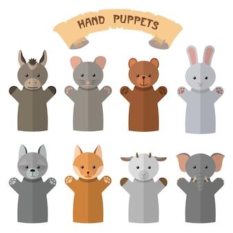 Wektor zestaw pacynki w stylu płaski. rękawiczki dla lalek z różnymi zwierzętami.