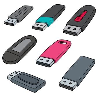 Wektor zestaw pamięci flash usb