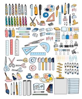 Wektor zestaw papeterii doodle stylu