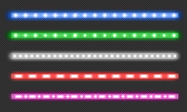 Wektor zestaw pasków led z efektem neonowego blasku