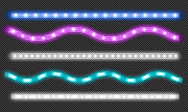 Wektor zestaw pasków led z efektem światła neonowego