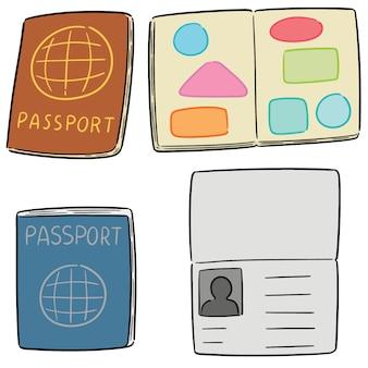 Wektor zestaw paszportów