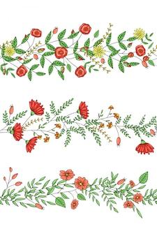 Wektor zestaw pędzli wzór rośliny ogrodowe ze stylizowaną różą, stokrotką, goździkiem, rozmarynem