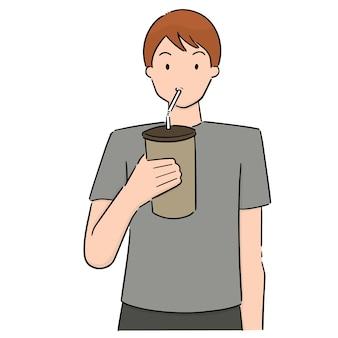 Wektor zestaw picia człowieka