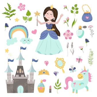 Wektor zestaw pięknej księżniczki, zamek, jednorożec i akcesoria