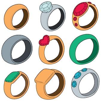 Wektor zestaw pierścienia