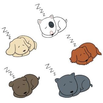 Wektor zestaw pies śpi