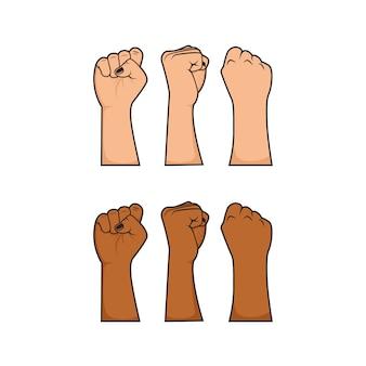 Wektor zestaw pięścią pięścią do demonstracji protestującego bojownika rewolucji z wielorasowym kolorem skóry