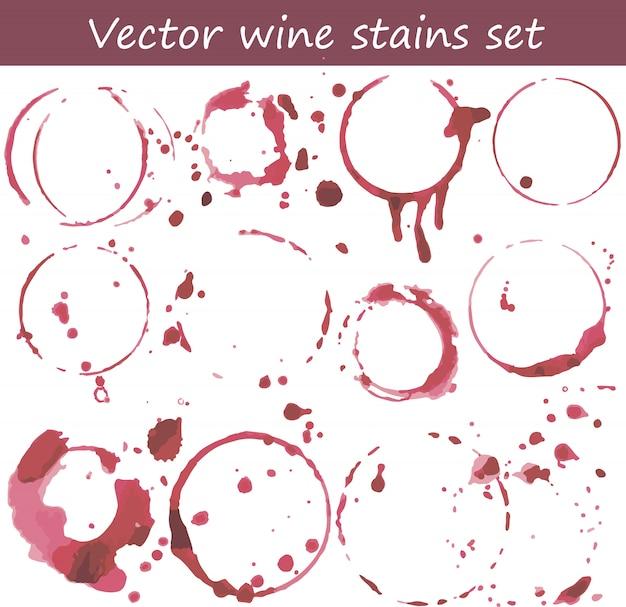 Wektor zestaw plam wina