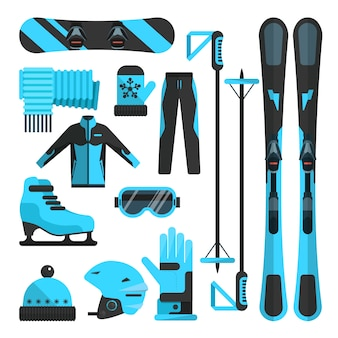 Wektor zestaw płaskich elementów sportów zimowych. strój narciarski, łyżwiarski i snowboardowy oraz sprzęt narciarski