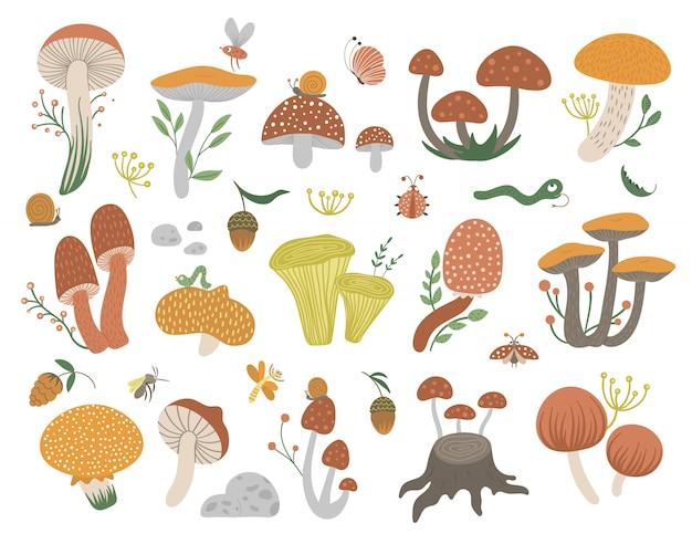 Wektor zestaw płaskich zabawnych grzybów z jagodami, liśćmi i owadami. jesień clipart. śliczne grzyby ilustracja z żołędziami i szyszkami