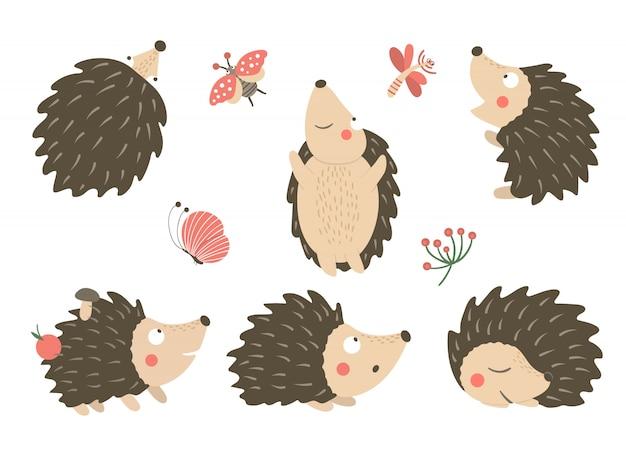 Wektor zestaw płaskich zabawnych jeży w stylu cartoon w różnych pozach z clipartów ważka, motyl, biedronka. śliczna ilustracja zwierząt leśnych.