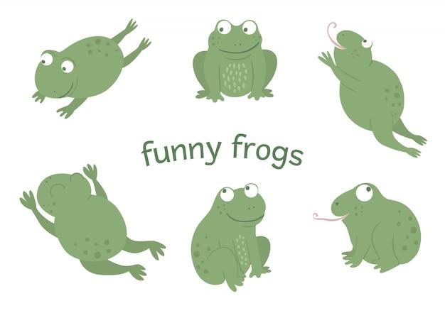 Wektor zestaw płaskich zabawnych żab stylu cartoon w różnych pozach. śliczna ilustracja leśnych zwierząt bagiennych