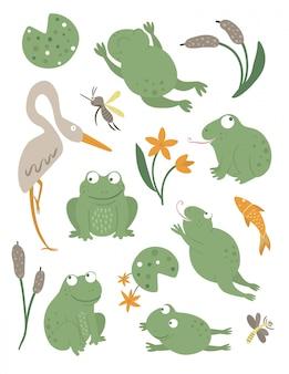 Wektor zestaw płaskich zabawnych żab w stylu cartoon w różnych pozach z lilią wodną, ważka clipart. śliczna ilustracja leśnych zwierząt bagiennych