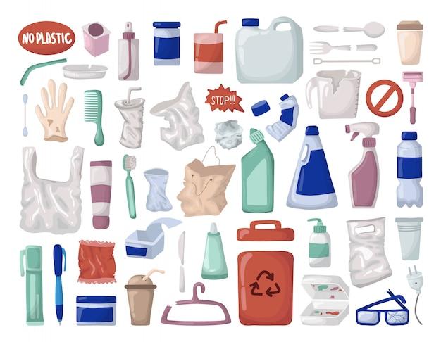 Wektor zestaw - plastikowe śmieci lub odpady, recykling tworzyw sztucznych