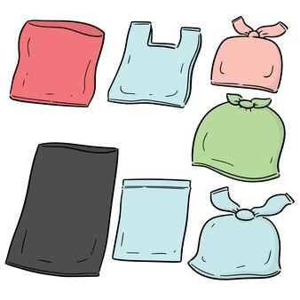 Wektor zestaw plastikowej torbie