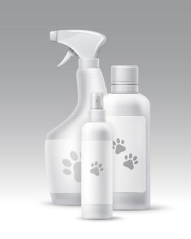 Wektor zestaw plastikowych butelek do higieny zwierząt domowych i groomong na białym tle na tle