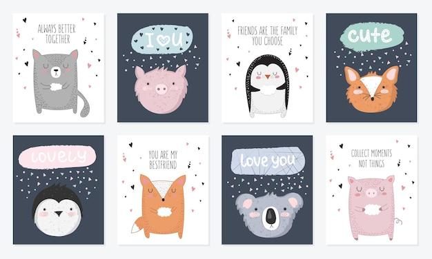 Wektor zestaw pocztówek ze zwierzętami i hasłem o przyjacielu doodle ilustracja dzień przyjaźni