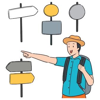 Wektor zestaw podróżnika i kierunek postu