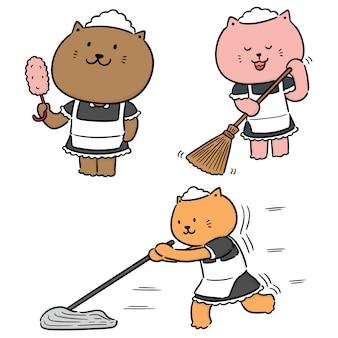 Wektor zestaw pokojówka kot