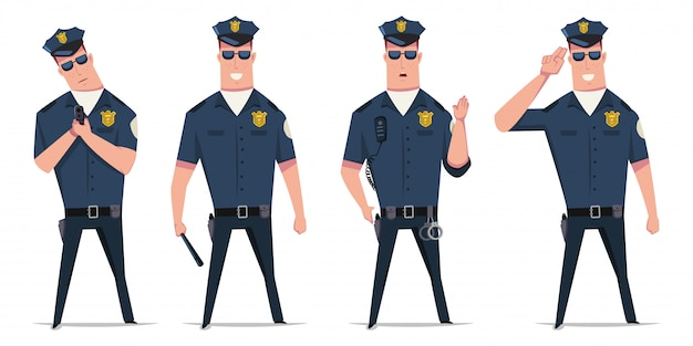 Wektor zestaw policjanta. postać z kreskówki śmieszne policjanta w różnych pozach z kajdankami, pistoletem i pałką na białym tle