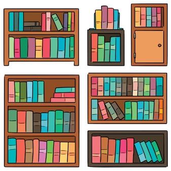 Wektor zestaw półka na książki