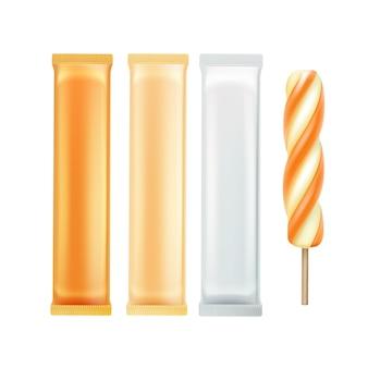 Wektor zestaw pomarańczowy karmelowy spirala popsicle lollipop ice cream fruit juice ice
