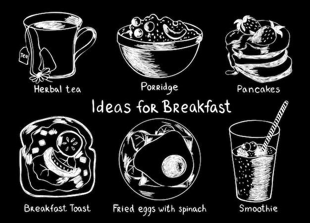 Wektor zestaw pomysłów na śniadanie. herbatka ziołowa, owsianka, naleśnik, tosty, jajka sadzone i sm