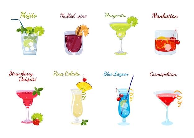 Wektor zestaw popularnych koktajli alkoholowych na białym tle menu koktajlowe