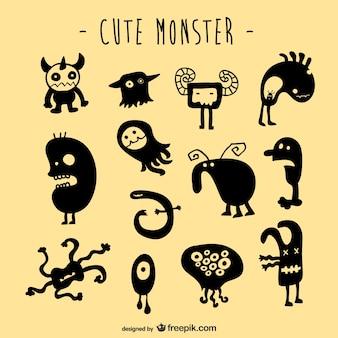 Wektor zestaw potworów stworzenia