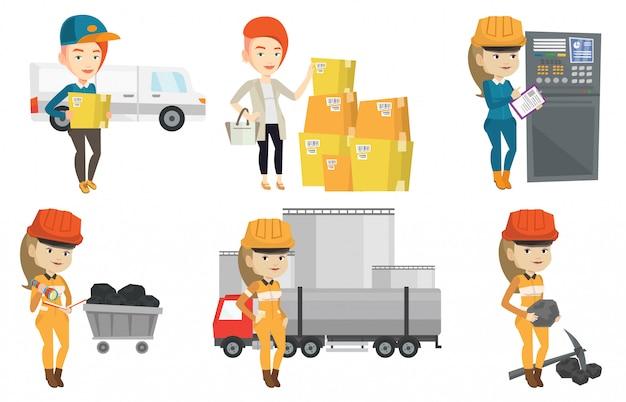 Wektor zestaw pracowników przemysłowych.