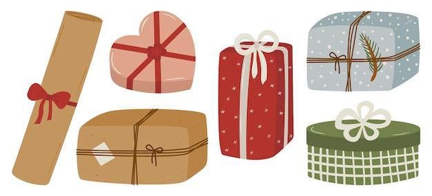 Wektor Zestaw Prezentów świątecznych W Stylu Wyciągnąć Rękę Premium Wektorów