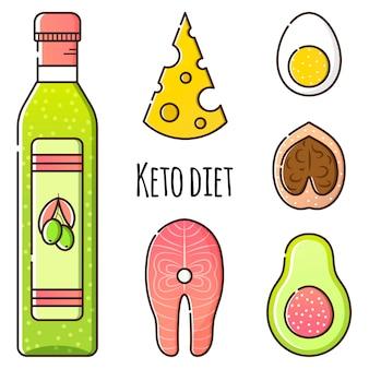 Wektor zestaw produktów do diety ketonowej