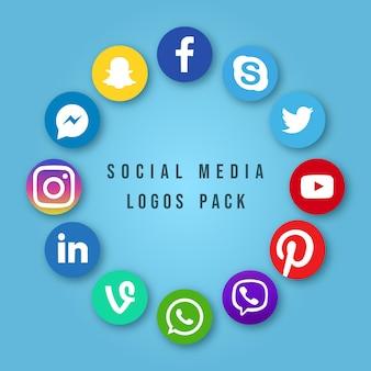 Wektor zestaw projektów najpopularniejszych ikon mediów społecznościowych