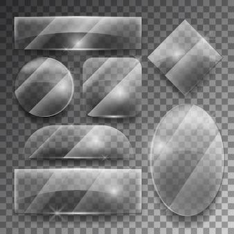 Wektor zestaw przezroczystych szklanych płytek. błyszcząca ramka błyszczący, pusty kształt ilustracji