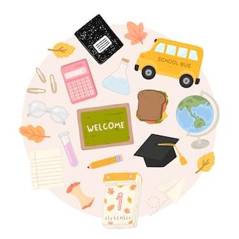 Wektor zestaw przyborów szkolnych na białym tle. powrót do szkoły elementy w stylu wyciągnąć rękę.