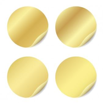 Wektor zestaw puste naklejki na białym tle. okrągłe naklejki do projektowania reklam.