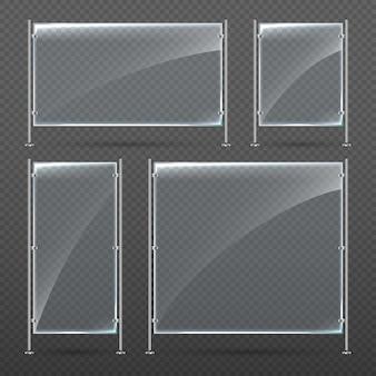 Wektor zestaw pusty transparent szkło stoją na metalowych stojakach.