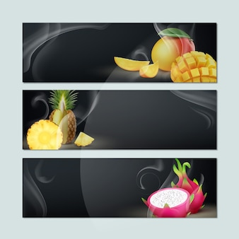 Wektor zestaw pustych banerów z dymem, mango, ananasem, owocem smoka i czarnym tłem dla reklamy tytoniu fajki