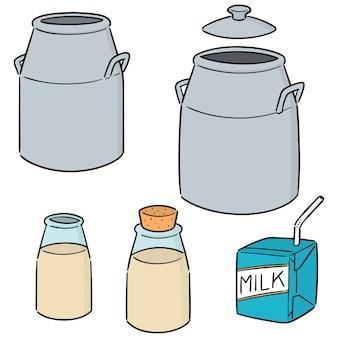 Wektor zestaw puszki mleka, butelki i mleka