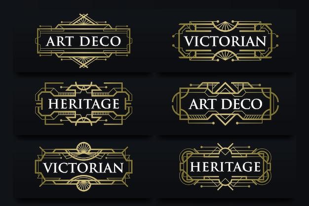 Wektor zestaw ramek etykiety w stylu art deco
