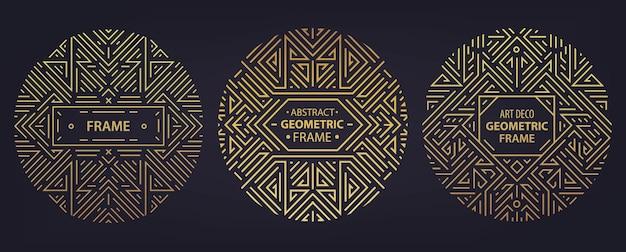 Wektor zestaw ramek w stylu art deco, krawędzie, abstrakcyjne szablony geometryczne dla produktów luksusowych. liniowe kompozycje ornamentowe, vintage. używaj do pakowania, brandingu, dekoracji itp.