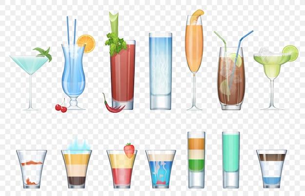 Wektor zestaw realistyczne koktajle alkoholowe na tle alfa transperant. letnie koktajle klubowe w szklankach mieszanych. kolekcja krótkich i długich koktajli.