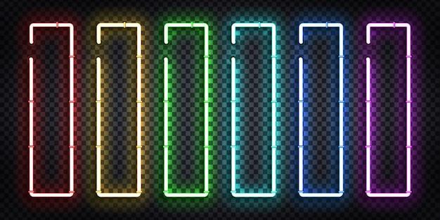 Wektor zestaw realistyczny izolowany neon znak pionowej ramy dla szablonu i układu.