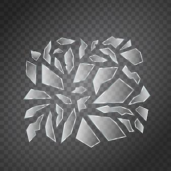 Wektor zestaw realistycznych na białym tle odłamków szkła do dekoracji i pokrycia na przezroczystej przestrzeni.