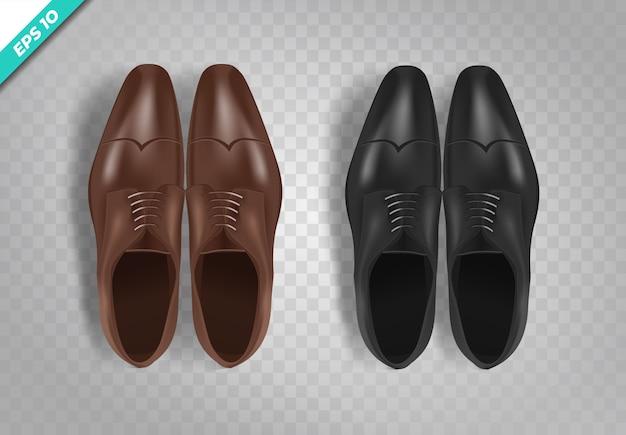 Wektor zestaw realistycznych obrazów męskich butów czarny i brązowy