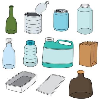 Wektor zestaw recyklingu przedmiotu