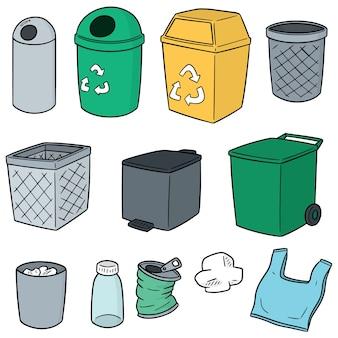 Wektor zestaw recyklingu śmieci