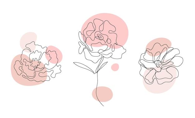 Wektor zestaw ręcznie rysowane, pojedyncza linia ciągła kwiaty - róże, szkic liści. kwiatowe elementy sztuki. używaj do nadruków na koszulkach, logo, kosmetyków.